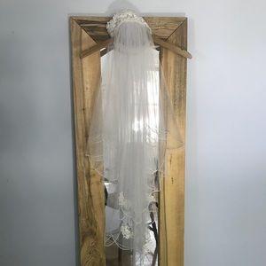 Vintage Blusher Wedding Veil Lace Pearl Headpiece
